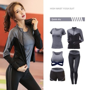 Image 5 - New Womens Sportwear Solid Yoga Sport Suit Breathable Gym Set Female Bra T shirt Shorts Pants Workout Fitness Clothes Tracksuit