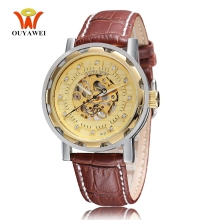 цены 2019 Self Winding Men Wristwatch OYW Brand Mechanical Gold Dial Skeleton Watch Fashion Luxury Leather Strap Male Automatic Clock