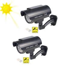 2 шт./лот поддельная камера видеонаблюдения на солнечной энергии для использования в помещении и на улице, водонепроницаемая светодиодная камера