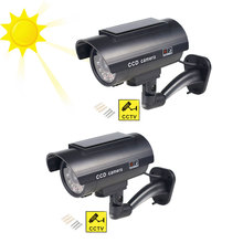 2pcs/lot Simulation Dummy Camera Fake Solar Power Outdoor Indoor Home Security Surveillance CCTV Camera Bullet Waterproof LED