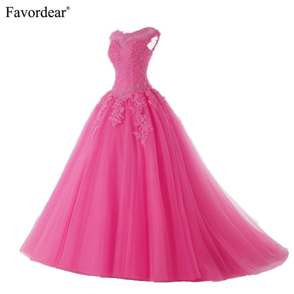 Favordear 2019 Quinceanera 15 Years Vestidos De 15 Anos Cap Sleeve Champagne Red Pink Watermelon Quinceanera