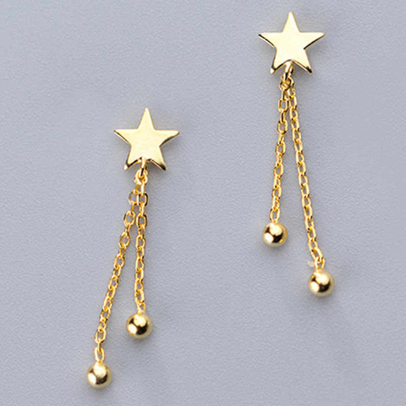 Inzatt Nyata 925 Sterling Silver Rantai Rumbai Manik Drop Anting-Anting untuk Wanita Elegan Bintang Pesta Baik Perhiasan 2019 Aksesoris Hadiah