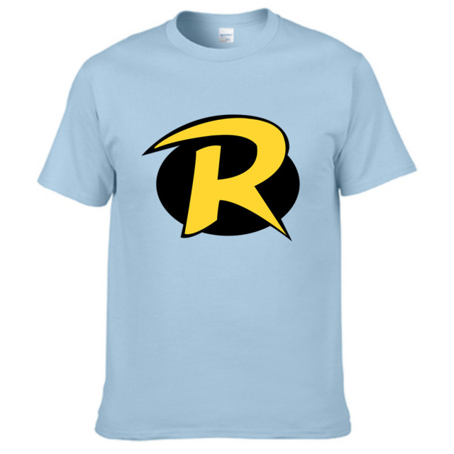 Teen Titans Go Robin Logo Short Sleeve Mens T-shirt 3D Letter, DoneBay Originals Brand T Shirt Men Light Blue Cotton Tees