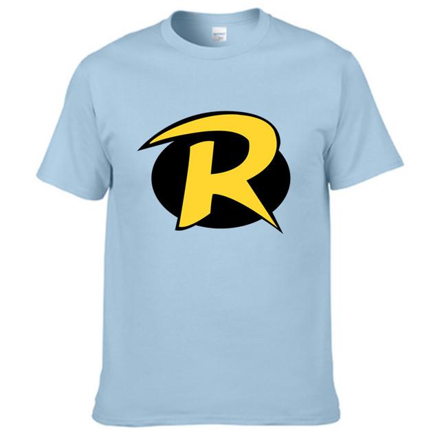 Titãs Vão Robin Logotipo Dos Homens de Manga Curta T-shirt Carta 3D, donebay originais da marca t shirt dos homens de luz azul de algodão tees
