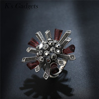 Antique Large Flowers Ring Fashion Crystal Column Silver Plated And Rose Gold Rhinestone Big Rings For