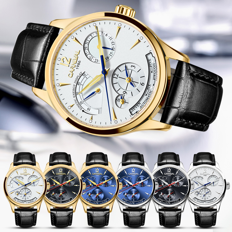 Original CARNIVAL Fashion Men Watch Top brand Multifunction Automatic Watch Men Calendar Waterproof Luminous Mechanical watches 5
