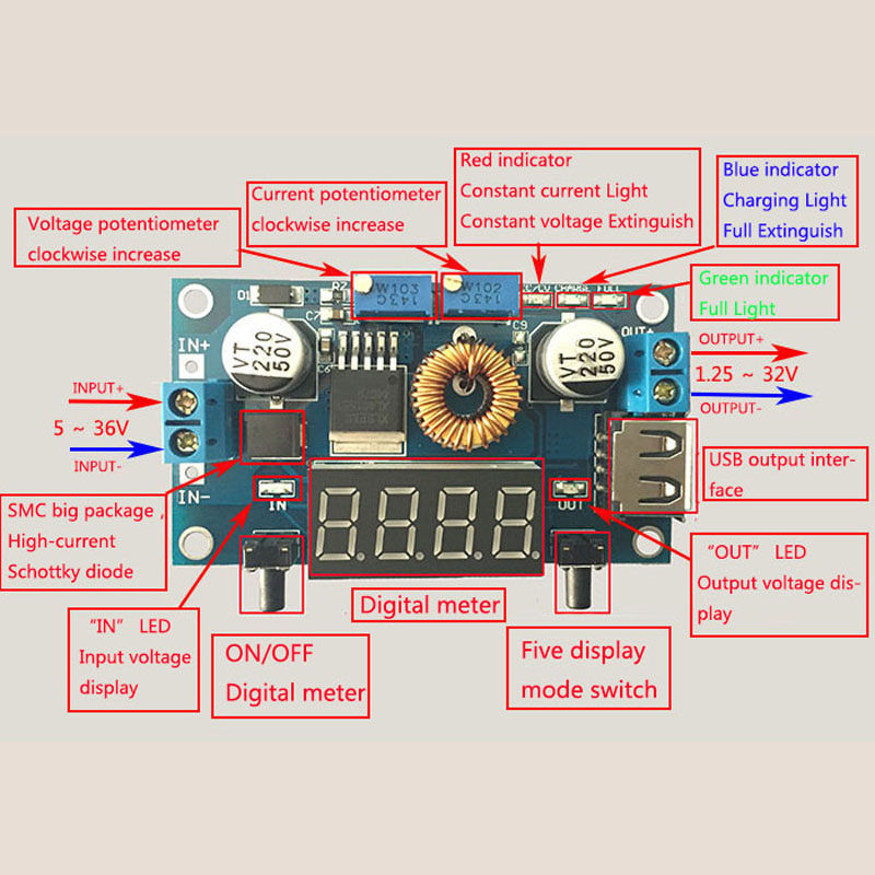 5A LED Drive With Voltmeter Ammeter DC-DC step-down CC/CV Voltage Current display Module With Shell