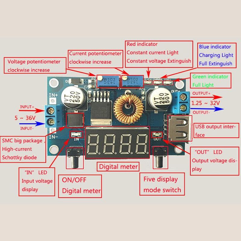 5-36V to1.25-32V DC-DC Step Down Converter 5A Buck Voltage Regulator With Case