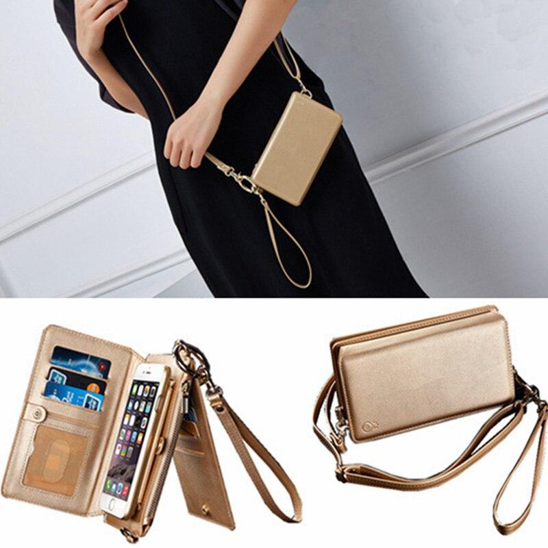 imágenes para Cremallera de hombro monedero case bolsa de teléfono para iphone 6s plus 7 plus larga correa de hombro genuino bolsos de cuero desmontable con tarjeta
