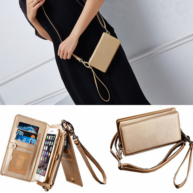 newest 7e287 d0a93 US $15.99 |Zipper Shoulder Wallet Case Phone Bag For iPhone 6s Plus 7 Plus  Long Shoulder Strap Genuine Leather Removable Handbags With Card-in Wallet  ...