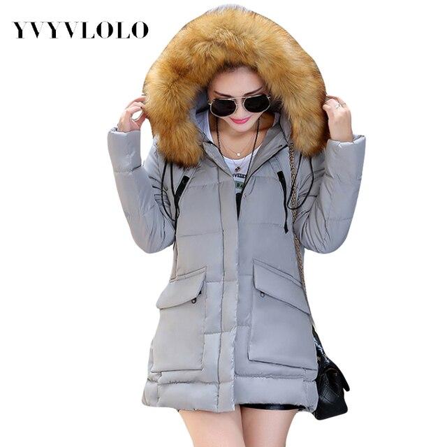 2016 Nova Coats & Jaquetas Parka Com Capuz Mulheres Jaqueta de Inverno Gola De Pele Casaco de Inverno Mulheres Com Zíper bolsos Grandes das Mulheres jaqueta