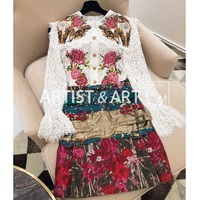 Svoryxiu Runway Custom Skirt Suit Women's Embroidery Relief Lace Blouse + Crystal Jacquard Skirts High Quality Clothes Set