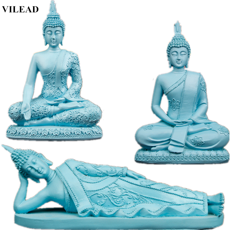 VILEAD Blue Resin Buddha Statue Thailand Buddhism Sculpture Hindu Buddha Figurines Miniatures Fengshui Vintage Home Decor GiftsVILEAD Blue Resin Buddha Statue Thailand Buddhism Sculpture Hindu Buddha Figurines Miniatures Fengshui Vintage Home Decor Gifts