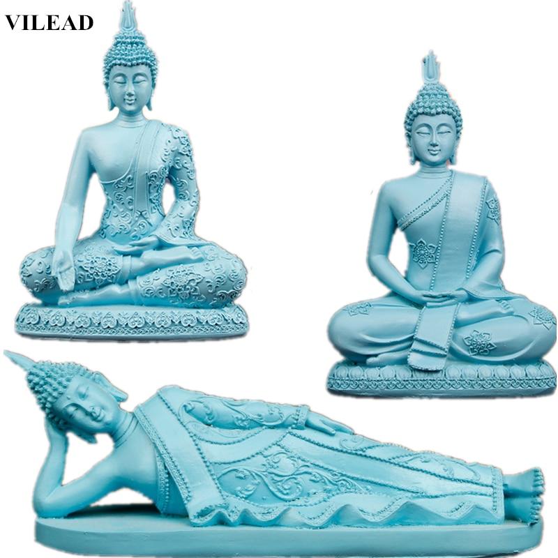 VILEAD Blue Resin Buddha Statue Thailand Buddhism Sculpture Hindu Buddha Figurines Miniatures Fengshui Vintage Home Decor Gifts