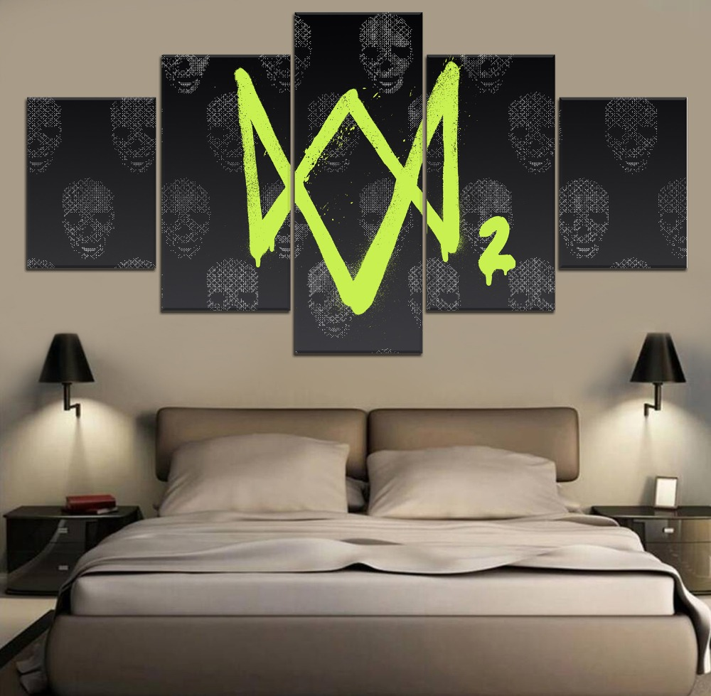 Watch Dogs 2 Game HD Print Decor 5 Piece Painting Canvas Modern Decor Painting Canvas Wall Art Home Living Room Painting Artwork in Painting Calligraphy from Home Garden