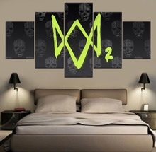 Watch Dogs 2 Game HD Print Decor 5 Piece Painting Canvas Modern Wall Art Home Living Room Artwork