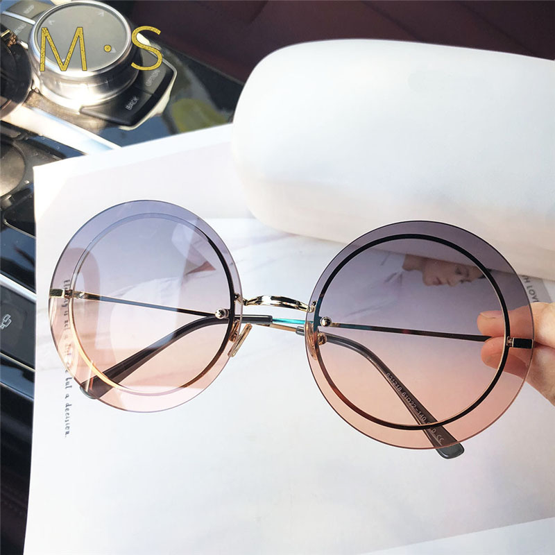 New Sunglasses Women Oversized Round Eyewear 2018 Gradient Brown Pink Rimless Sun Glasses For Female Gift Brand Designer Uv400