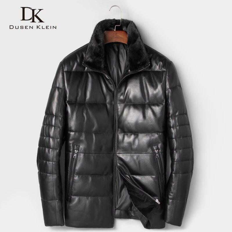 Дюсенов Klein Для мужчин из натуральной кожи 2018 пуховики осень-зима новый мужской дубленка дизайнерский бренд норки воротник 7165