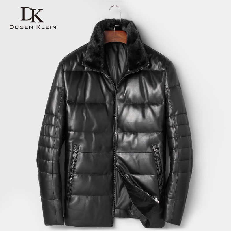 Dusen Klein Men Genuine Leather Down Jackets 2018 Autumn Winter New Male Sheepskin Coat Designer Brand Mink fur collar 7165