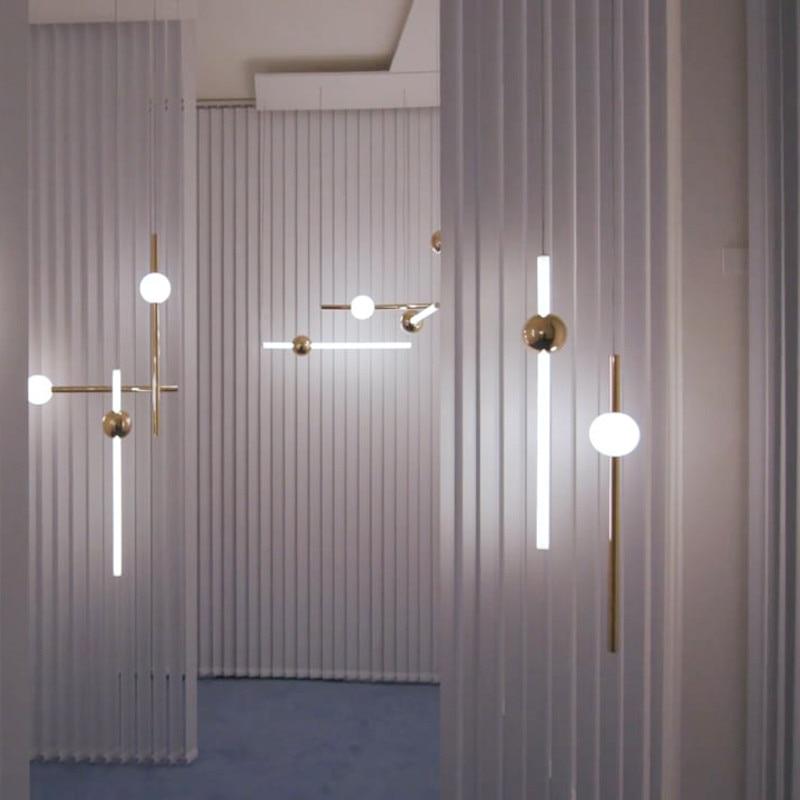 LED Pendant Light Metal Luminous Ball Glass Strip Suspension Long Light Bar Exhibition Hall Hotel Home Pendant Lighting PA0202