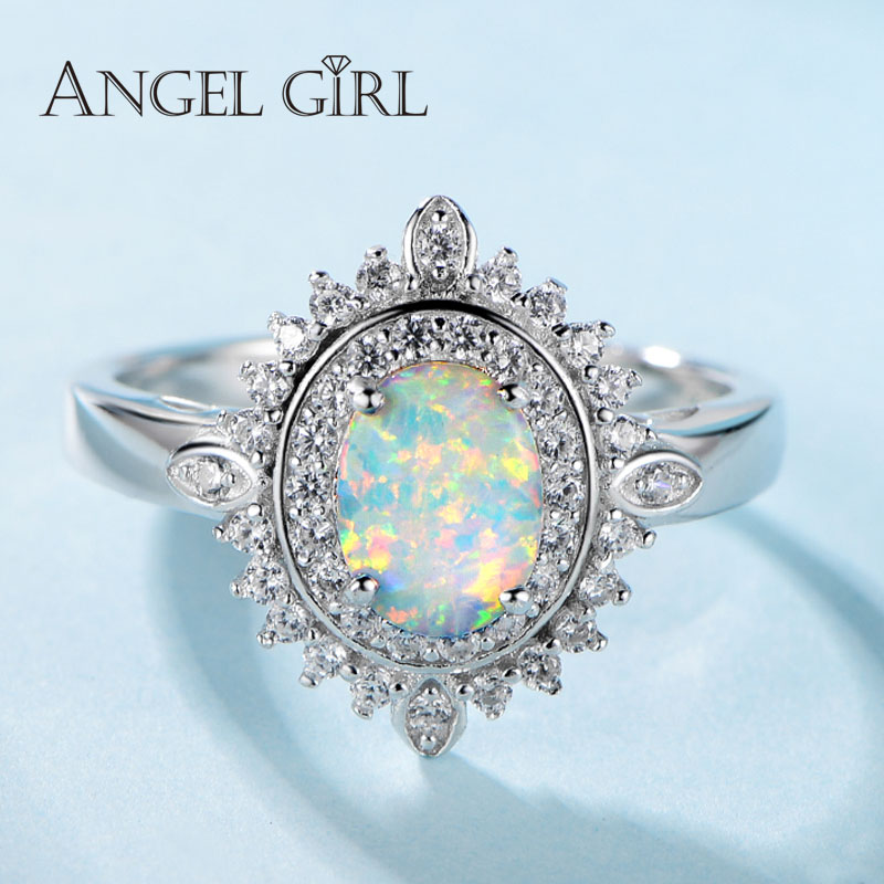 Angel Girl 925 Sterling Silver 0 78ct Opal Rings Female