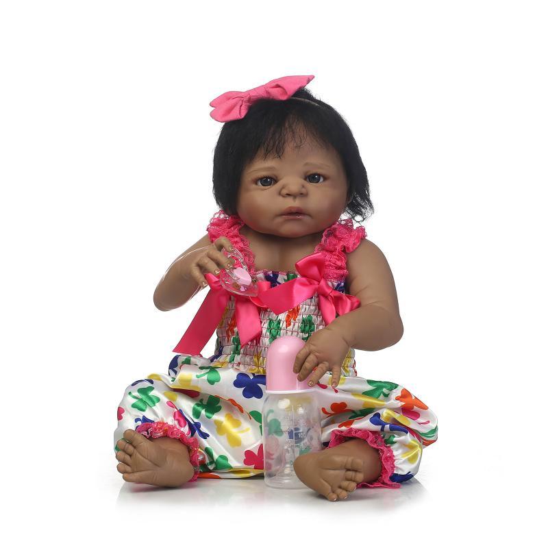55cm Silicone Black Skin African American Full Vinyl Body Bonecas Reborn Dolls in Princess Dress Girls