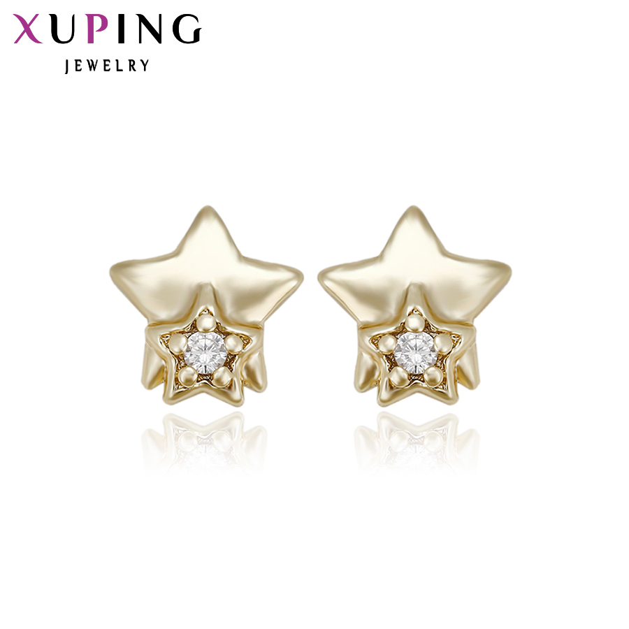 11.11 Xuping Fashion Earring Gold Color Plated Synthetic CZ Star Stud Earrings Jewelry Gift Top Quality Special Design 28952