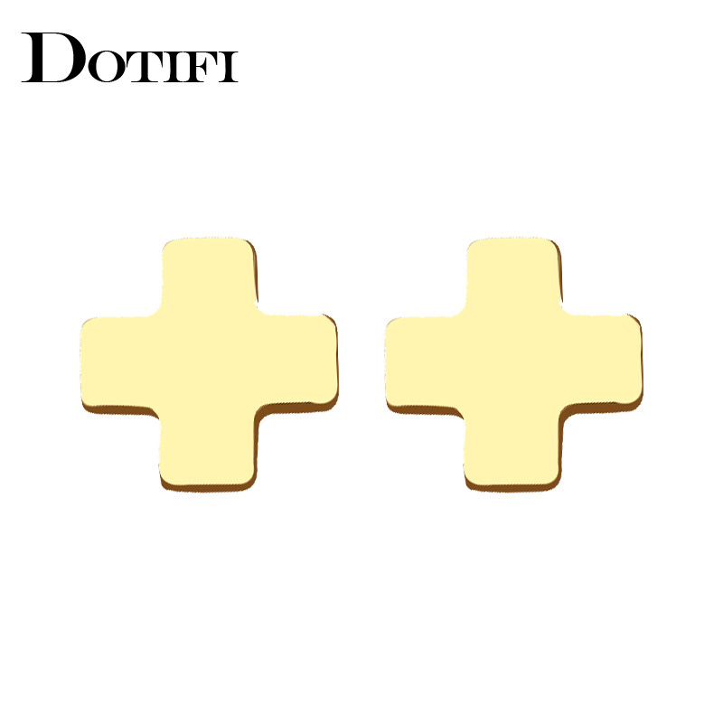 DOTIFI Stainless Steel Stud Earring For Women Man Pretty Cross Gold And Silver Color Lovers Engagement Jewelry Drop Shipping