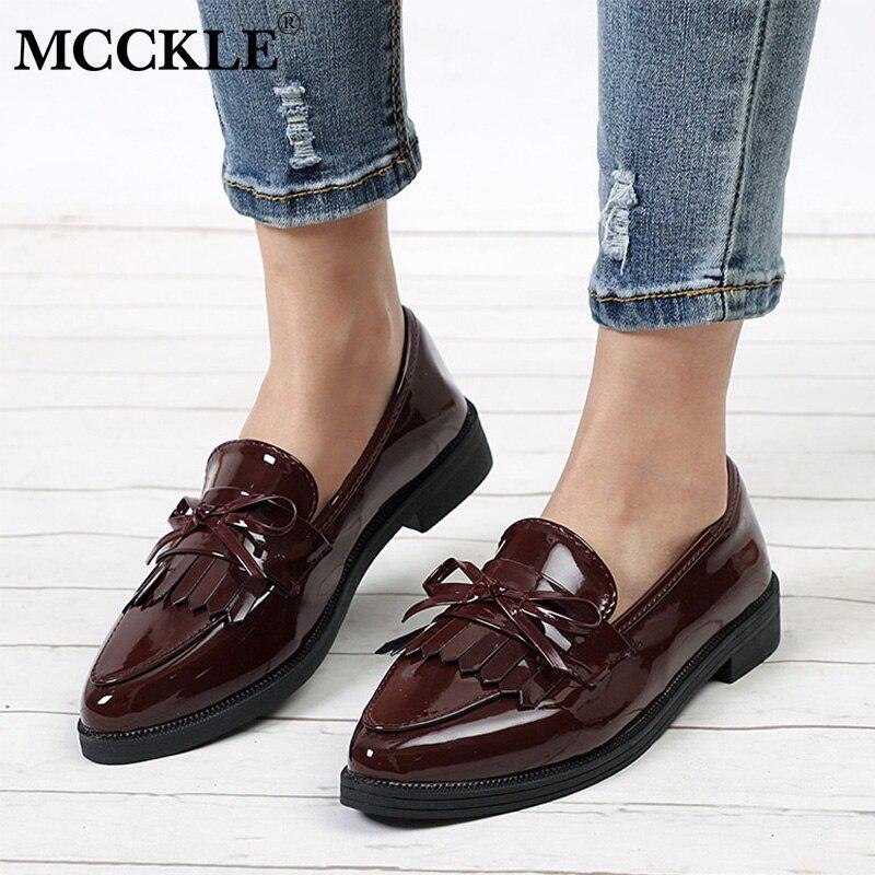 MCCKLE Women Low Heels Fashion Bowtie Platform Female Shoes Fringe Chunky Heel Flat Shoe Casual Footwear Oxford Shoes Woman