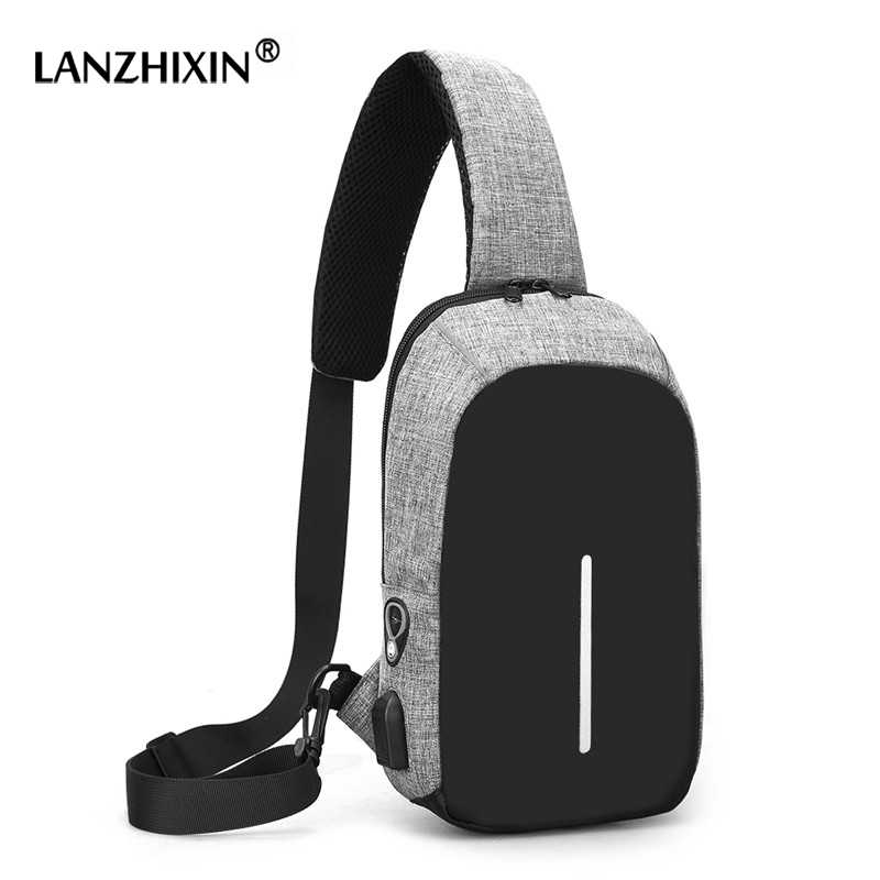 3f8b4a26a Men Chest Bags Male Multi-functional Casual Crossbody Bag Men Audio Line USB  Charging Chest