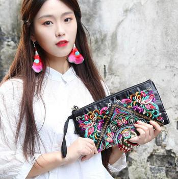 2019 New National Ethnic Women Embroidery Wallet Embroidered Flower Coins Purse Bags Women's Small Handbag Clutch Bag 3 Styles