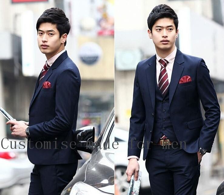New Arrival Fashion Custome Homme Notch Lapel Two Buttons Men Suits Groomsmen PromBridegroom Suit(Jacket+Pants+Vent+Tie)