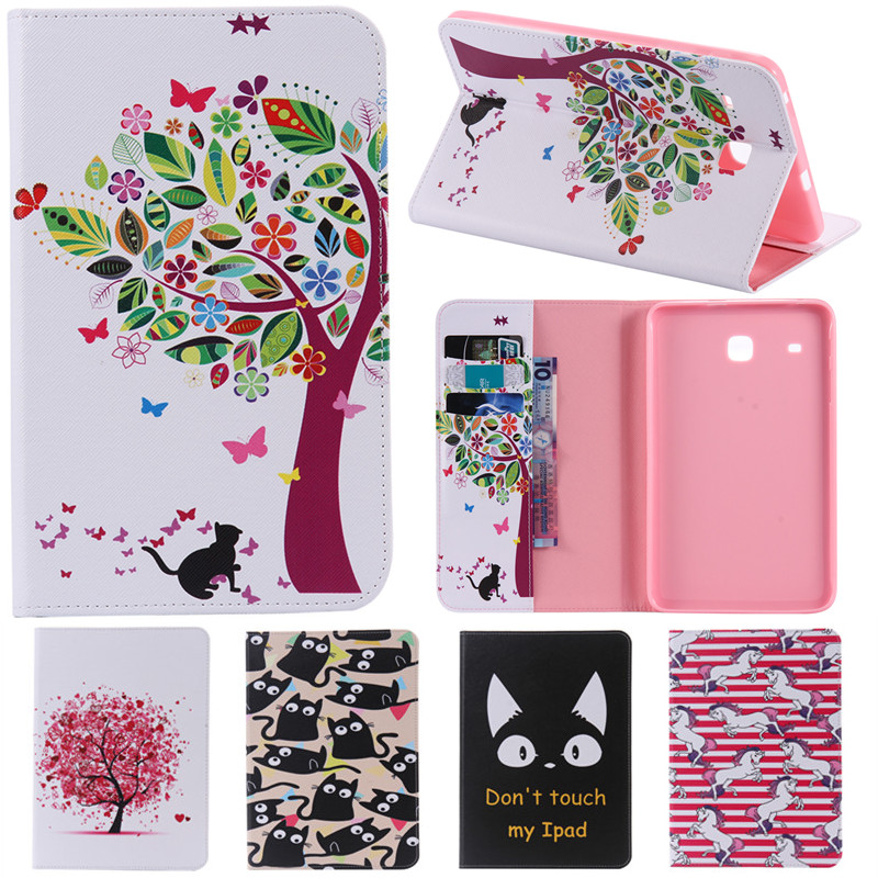 Cute Cartoon Card Slot Stand Flip PU Leather Coque Case sFor Samsung Galaxy Tab E 8.0 T377 T377V SM-T377 T375 Tablet Cover Case