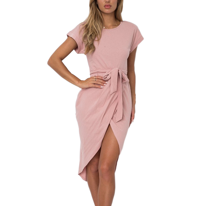 Dusty Pink Sexy Sun Dress for Women Split Juniors Party Dresses High Low Vintage Summer Mini Frock