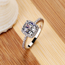 Elegant Temperament Jewelry Women Girls White Silver Filled Wedding Ring