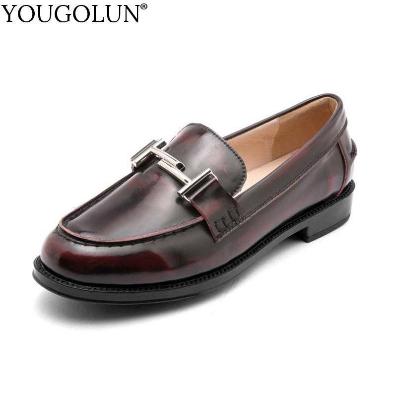 YOUGOLUN Women Loafers Spring Autumn Genuine Cow Leather Flat Shoes Black Wine Red Buckle Pigskin Round toe TPR Flats #A-010 cow leather round toe flats plain loafers genuine leather women shoes wedge heels platform spring autumn shoes sizes 22cm 24 5cm