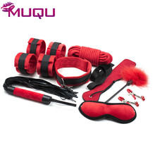 Sex bondage set Ribbon Pulsh 9 pieces sex products bdsm gag ball blindfold hand cuffs erotic toys for couples