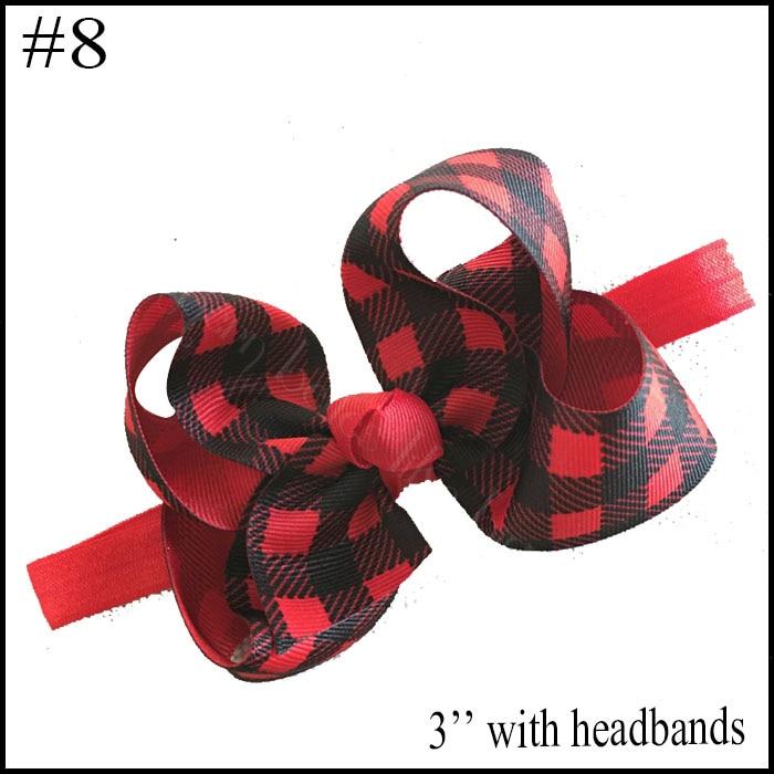 free shipping 10pcs Buffalo Plaid bows christmas Hair Bows With Clips plaid Kids Girls Princess Handmade Boutique bows - Цвет: 2018102402008