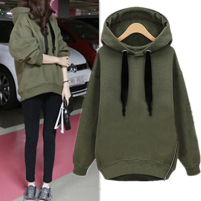 Spring Autumn Winter Korean Version Plus Size Women Hoodies Zipper Thickened Add Velvet Long Sleeve Girls Hoodies Pullover