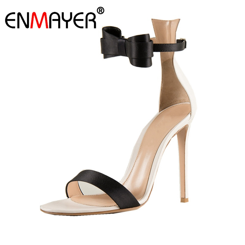 ENMAYER Bowtie Stain Open toe High heels Sandals Big size 34-43 Summer Sexy Women shoes Buckle strap Thin heels Sweet Shoes CR55 big size 40 41 42 women pumps 11 cm thin heels fashion beautiful pointy toe spell color sexy shoes discount sale free shipping