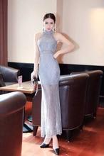 Günstige Sexy Lady Cheongsam Halter High Neck Spitze Meerjungfrau Abendkleider Bodenlangen Weg Von Der Schulter Partei-kleider Nach Maß