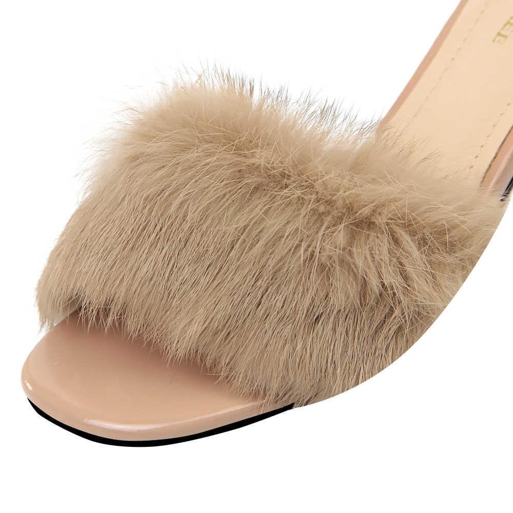 Plardin/Новинка; женские туфли с ремешком на лодыжке и металлическим украшением из искусственного меха; женские замшевые туфли-лодочки с открытым носком и пряжкой на высоком каблуке