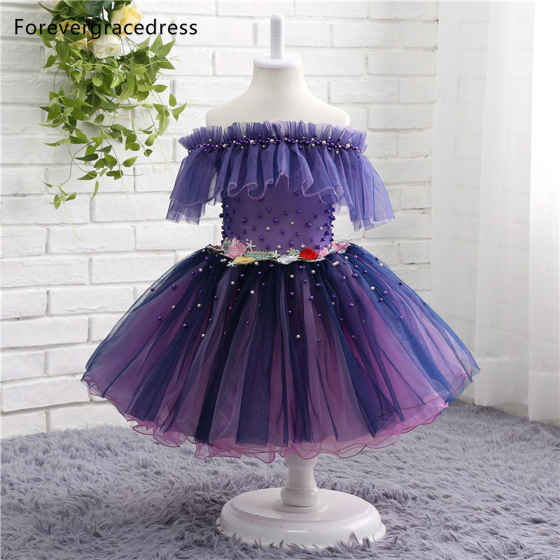 Forevergracedress Real Photos   Flower     Girl     Dress   High Quality Off The Shoulder Tulle Children Pageant Gown