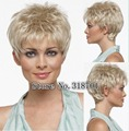 Pixie Cut Hairstyle Synthetic Wigs Short Hair Straight Blonde Wigs Women Perruque Natural free shipping