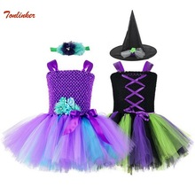 Girl Witch Costume With Headband Hat Baby Birthday Party Tutu Dress Kids Halloween Cartoon Outfit Girls Fancy