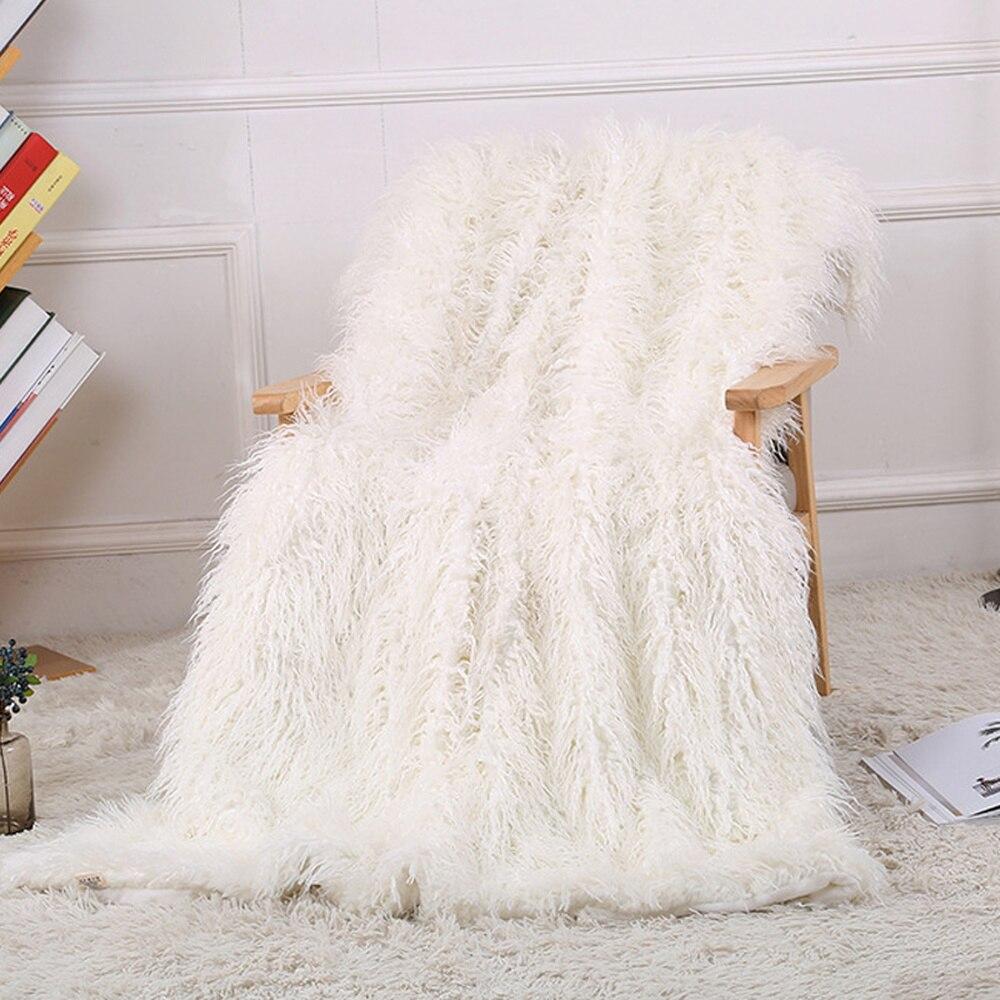 Super doux flou Shaggy agneau jeter couverture en peluche chaude longue fausse fourrure couverture literie couverture pour chambre canapé étage 130x160cm