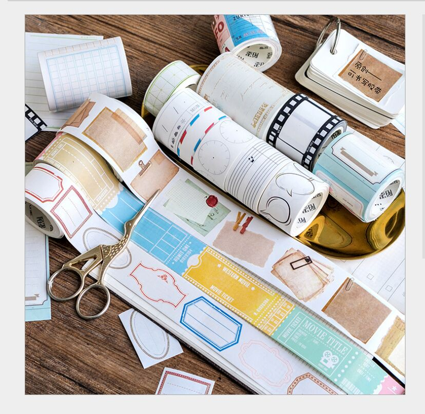 Vintage Ticket Stub Mail Letters Matts Grid Music Note Film Clock Bank Bills Washi Tape DIY Planner Scrapbooking Masking Tape