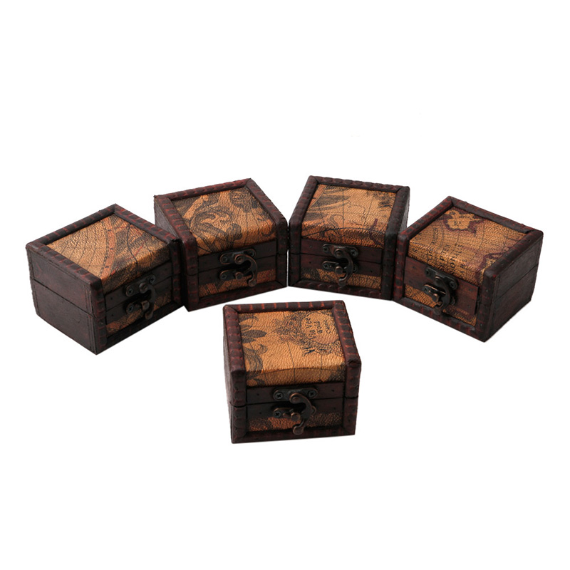 JAVRICK Vintage Wooden Map Storage Box Case Jewellery Cufflinks Chest Small Gift New