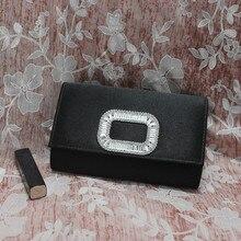 Ladies Fashion Silk Handbag Artificial Diamond Crystal Evening bag Black Cover Wedding Bridal Party Clutch Shoulder