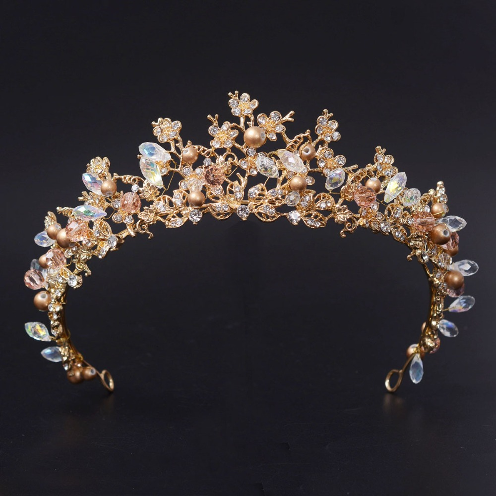 New Fashion Magnificent Pearl Crystal Bridal Crown Tiaras Classic Golden Diadem tiaras for Women Bride Wedding